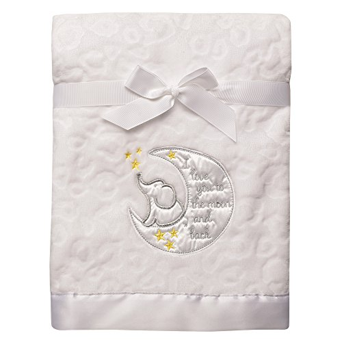 Baby Starters Sculpted Micro Velour Blanket with Satin Applique, I Love You to The Moon and (Love Satin)