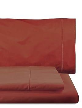 Home Royal - Juego de sábanas Compuesto por encimera, 220 x 285 cm, Bajera Ajustable, 135 x 200 cm, Funda para Almohada, 45 x 155 cm, Color Burdeos