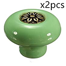 Choubao 2PCS Retro Style Round Ceramic Knobs with Zinc Alloy Petals Inlaying Door Handle Cabinet Drawer Cupboard Pull Handle. -Green+Bronze