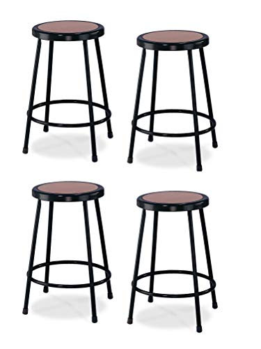 4 Pack National Public Seating 24 Heavy Duty Steel Stool, Black