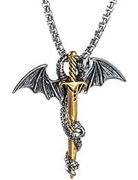 Punk Titanium Steel Dragon Sword Wing Pendant Necklaces