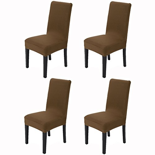 Awland Dining Chair Slipcovers Protector Removable Short Stretch Spandex Dining Room Banquet Chair Seat Cover for Kitchen Bar Hotel and Wedding Ceremony 4PCS - Brown (Slipcovers Chair Bar)