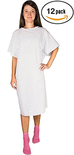12 Pack - White Hospital Gown with Back Tie / Hospital Patient Robes with Ties - One Size Fits All - Wholesale