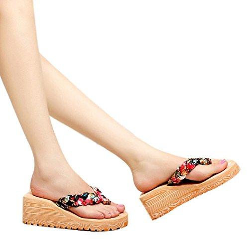 Transer 2017 1Pair Las mujeres del verano de Bohemia dulce fracasos de tirón sandalias clip del dedo del pie zapatos de playa de las sandalias Negro