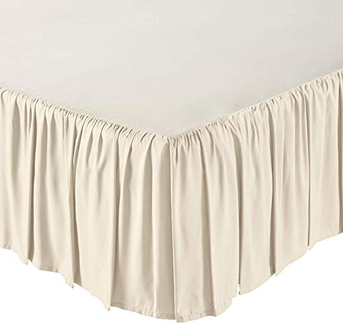 KP Linen Ruffled Bed Skirt with Split Corners King Size (18 Inch Drop) Platform Dust Ruffle with 400 Thread Count Microfiber Wrinkle Free(Ivory Solid)