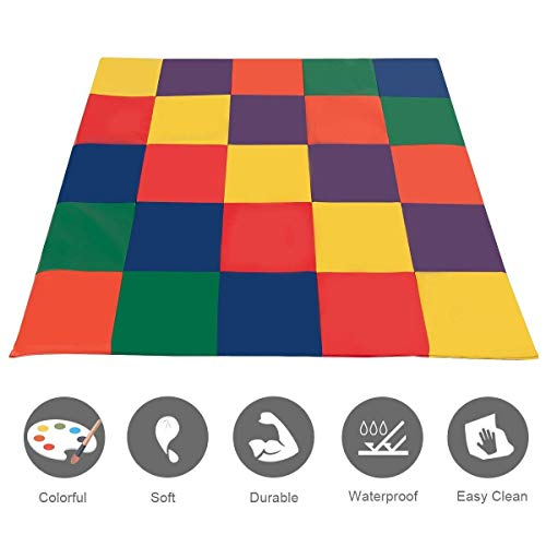 Activity Soft Mat (Costzon Baby Play Mat, PVC Leather Waterproof Foam Soft Mat with Multi-Colors, Toddler Activity Cushioned Mat)