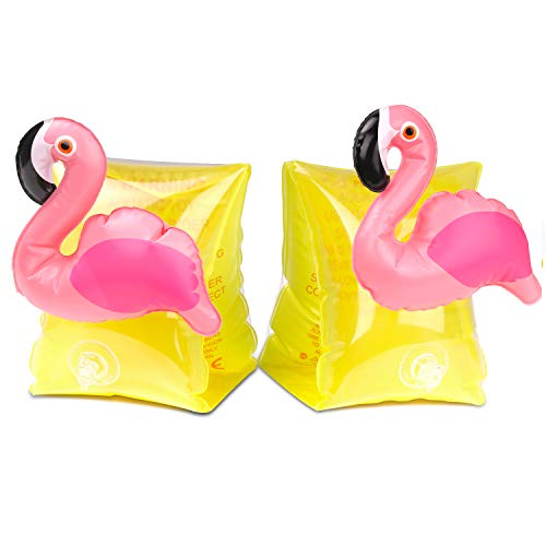 MoKo Inflatable Swim Floater Sleeves for Kids, Cartoon Swimiming Armbands Floaties Water Wings Floatation Sleeves, Pool Water Sports Learning Swim Training Aids, Flamingo