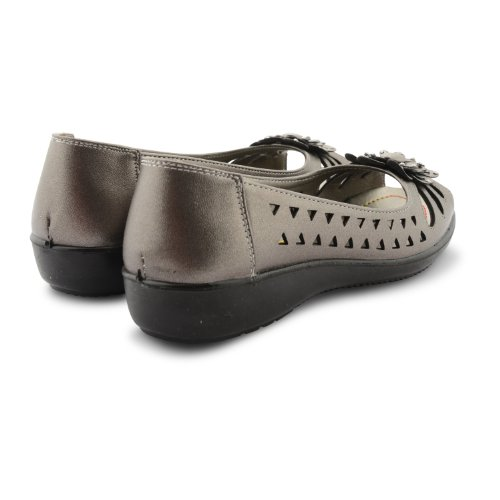 New Ladies Ballet Pumps Flat Cut Out Womens Style Peep Toe Slip On Shoes Pewter i2cUI