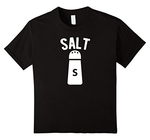 [Kids Salt - Salt And Pepper Matching Halloween Costume T-Shirt 12 Black] (Silly Halloween Costume Ideas)