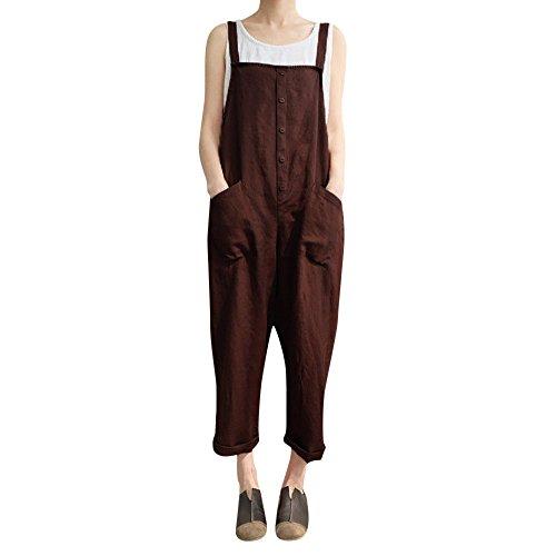 (Toimothcn Women's Casual Linen Jumpsuits Overalls Baggy Bib Pants Plus Size Wide Leg Rompers (Coffee, XL))
