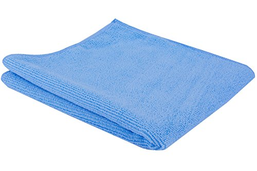 JaniFiber Microfiber Cleaning Cloths Towel Set, Highly Absorbent, Lint, Scratch and Streak Free, Soft and Washable, 16 by 16, Blue, 24 Pack