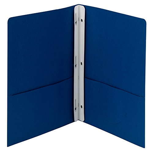 Smead Two-Pocket Heavyweight Folder, Tang Strip Style Fastener, Letter Size, Dark Blue, 25 per Box -