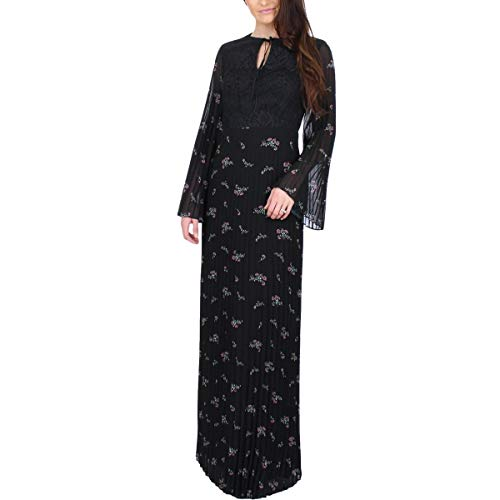 Juicy Couture Black Label Womens Chiffon Floral Print Maxi Dress Black XS (Juicy Couture Print Dress)