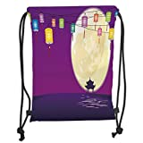 Drawstring Backpacks Bags,Lantern,Chinese Style Pavilion in Full Moon Night to Celebrate Mid Autumn Festival Decorative,Violet Night Blue Soft Satin,5 Liter Capacity,Adjustable Str
