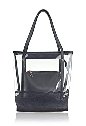Hoxis Clear Tote Lace Embroidery Top Handle Bags with Interior Cosmetic Purse (White)