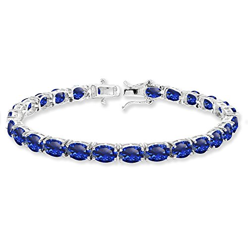 Sterling Silver 7x5mm Created Blue Sapphire Oval-cut Classic Tennis Bracelet