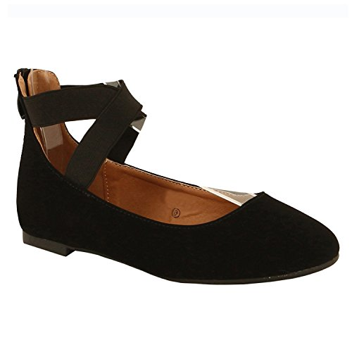 Guilty Schuhe Damen Classic Comfort Elastic Crossing Straps - Stretchy Ballerina Ballerinas Schuhe Schwarzes Nubuk