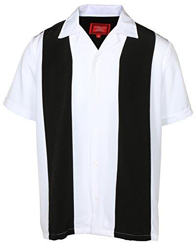 9 Crowns Men's Retro Bowling Bahama Camp Button-Down Shirt-Black/White-Large