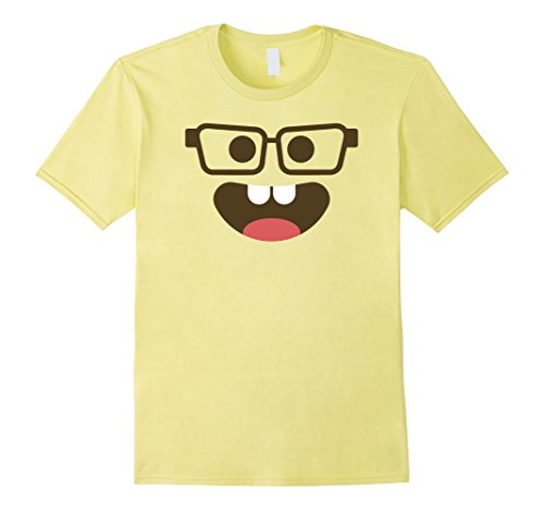 Mens Halloween Nerd with Glasses Emoji Costume Shirt Medium Lemon