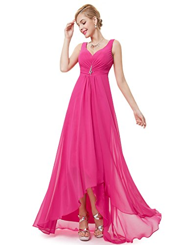 Ever Pretty Juniors V-Neck Ruched Waist Long Winter Formal Dress 10 US Hot Pink