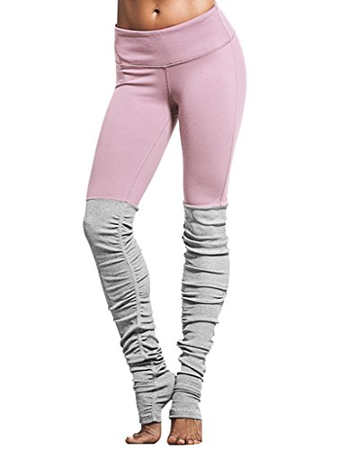 Belleshine Women's Double Candy Color Block Stretch Ribbed Sport Active Yoga Pants Leggings(PI,S)