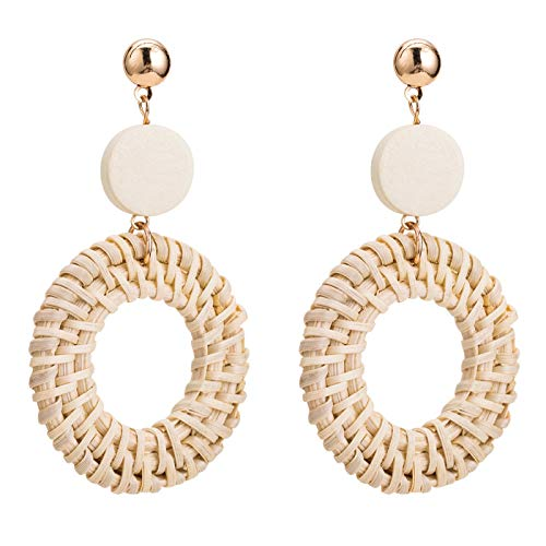 - Womens Girls Rattan Earrings, Handmade Weave Straw Bohemia Statement Geometric Drop Stud Earrings Jewelry Gifts (double round)