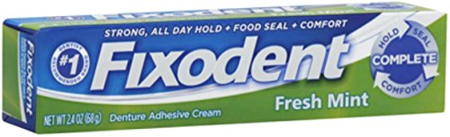 (Fixodent Denture Adhesive Cream, Fresh Mint 2.40 oz (Pack of 9) )