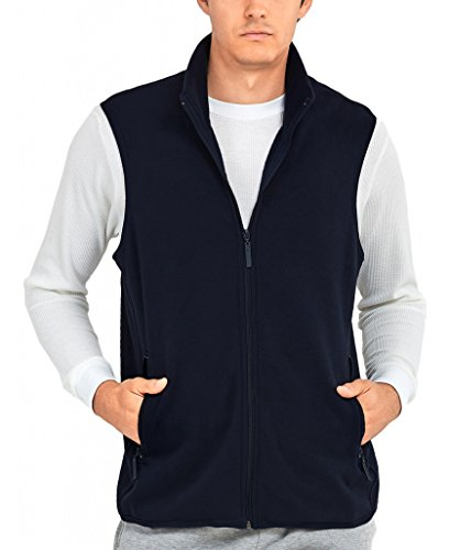 ToBeInStyle Men's Zip Up Sleeveless High Collar Polar Fleece Vest (3XL, - Fleece Navy Vest