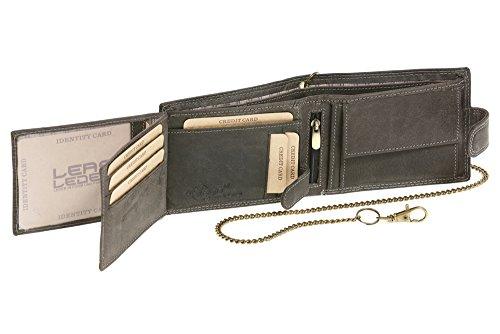 Portafoglio per Uomo e Donna con catena formato orizzontale con bloccaggio esterno Vintage-Stile LEAS MCL, Vera Pelle, nero - ''LEAS Chain-Series''