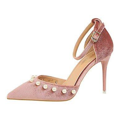 FYios Sandalias mujer Primavera Verano Otoño Invierno Club Zapatos Confort Suede boda vestido de noche &Amp; Stiletto HeelBeading imitación perla US4-4.5 / EU34 / UK2-2.5 / CN33