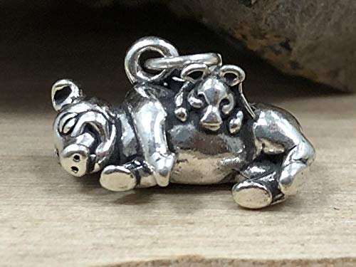 Pig Charm, Sterling Silver Charm, Piglet Charm, Pig Pendant, Sterling Silver Pig Charm, Farm Charm, Farm Animals