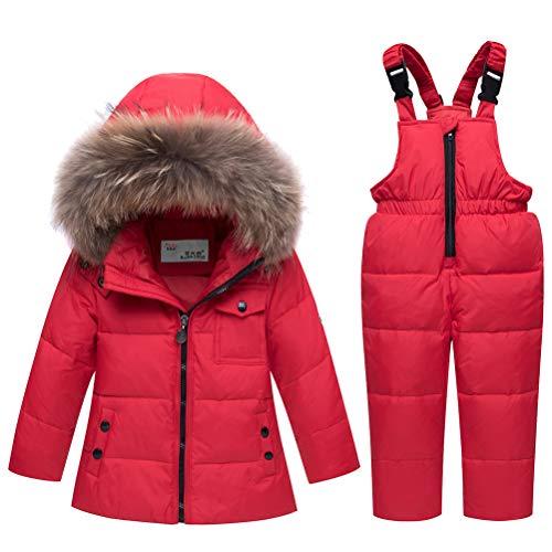 Skijakkeset Baby Girls Two Piece Winter Warm Hooded Fur Trim Snowsuit Puffer Down Jacket with Snow Ski Bib Pants Outfits