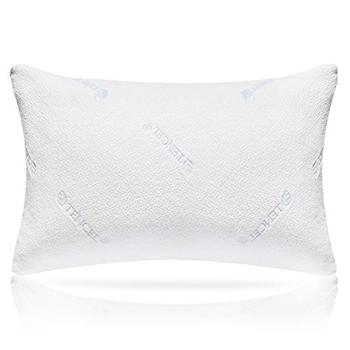 Milemont Memory Foam Pillow, Hypoallergenic Bamboo Shredded Pillow - Washable Removable Cooling Bamboo Derived Rayon Cover - CertiPUR-US - Queen