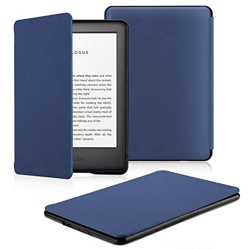 OMOTON All-New Kindle 2019 Case Cover, The Thinnest Lightest PU Leather Smart Shell Cover with Auto Sleep Wake Feature for All New Kindle 10th Generation 2019 Released, Navy Blue