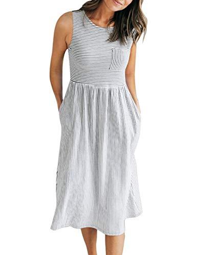 MEROKEETY Women's Sleeveless Striped High Waist T