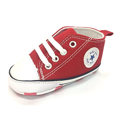 M2cbridge Baby Girl Boy Canvas Sneakers Toddler Anti-Slip First Walkers (0-6 Months, Red)