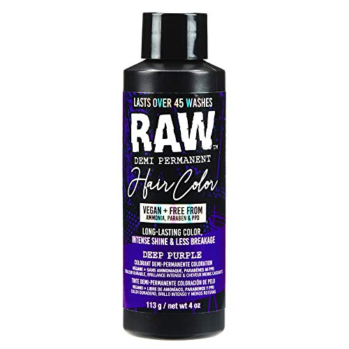 RAW Demi Permanent Deep Purple Hair Color, Vegan, Free from Ammonia, Paraben & PPD, lasts over 45 washes, 4oz