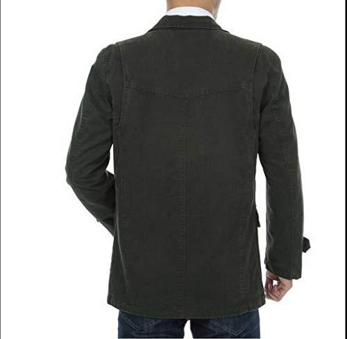 FGYYG Men's Autumn Cotton Slim Fit Military Lapel Suit Coats Outdoor Casual Multi-Pocket Windproof Bomber Jacket Khaki