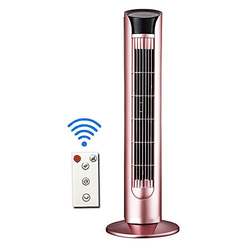 WUSTEGCCF Oscillating Tower Fan,with Remote Control, 3 Quiet Speeds and Modes, 7.5h Programmed Timer for Home and Office,for Bedrooms, Living Rooms, Kitchen, Office,Pink ()
