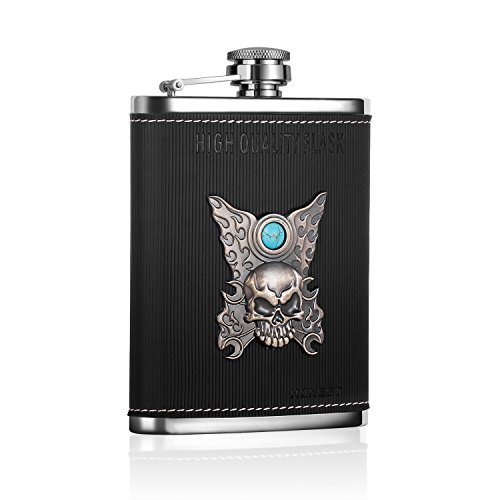 Levohome-Stainless-Steel-Black-Leather-Skull-Pattern-Hip-Flask-8oz-Calaite-with-Funnel