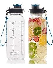BOTTLED JOY 32oz Water Bottle Stainless Water Bottle, BPA Free Water Bottle with Motivational Time Marker Reminder Leak-Proof 1L Drinking Bottle Tritan Sports Bottle