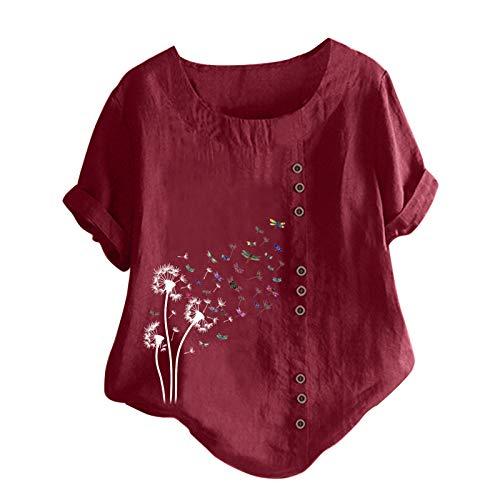 2021 Paardebloem-print ronde hals knop mode losse korte mouwen top blouse T-shirt