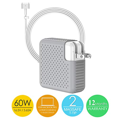 MITIME Compatible with MacBook Pro Charger 60W Mag Safe 2 Magnetic T-Tip Power Adapter, Charger for MacBook Air 11&13 and for MacBook Pro 13 Retina Display-Fits 45W & 60W After Late 2012 (60T1)