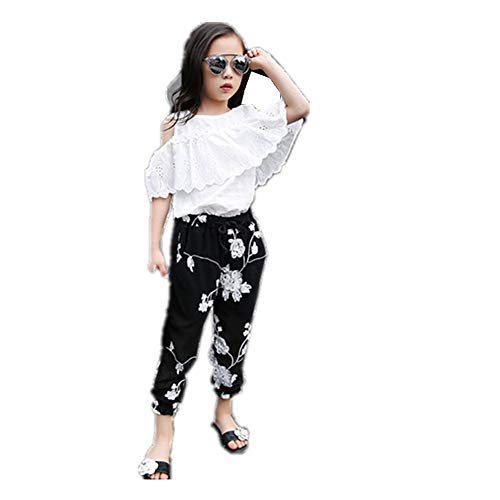 (FTSUCQ Girls Pullover Off-Shoulder Lace Shirt Top + Floral Cropped Trousers,140 Black and White)