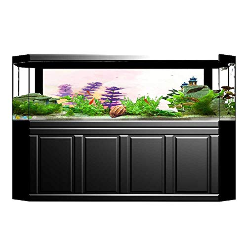 Be&Cheery Aquarium Background Tall Lavenders Old World Essential Perennial Weeds Shrubs Theme Pink Wallpaper Fish Tank Backdrop Static Cling 23.6