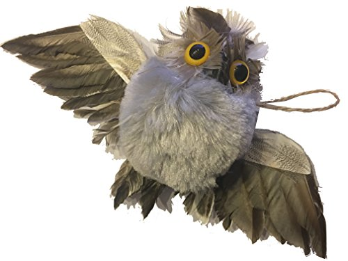 Feathered Flying Grey Owl Full Wing Span Christmas Ornament - Collector Variations Include Colorful Fancy Feathered Owl, White Snow Owl, Feathery Owls (Flying Feathery Owl Full Wing Span) (Ornaments White Owl Feathered)