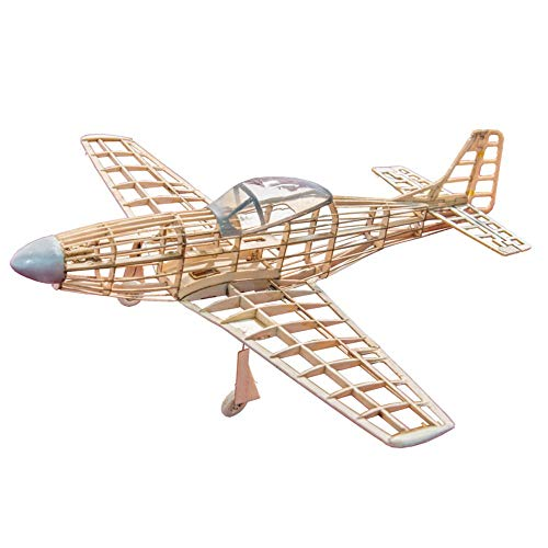 P51D Mustang 400mm Wingspan Balsa Wood Laser Cut RC Warbird Airplane -