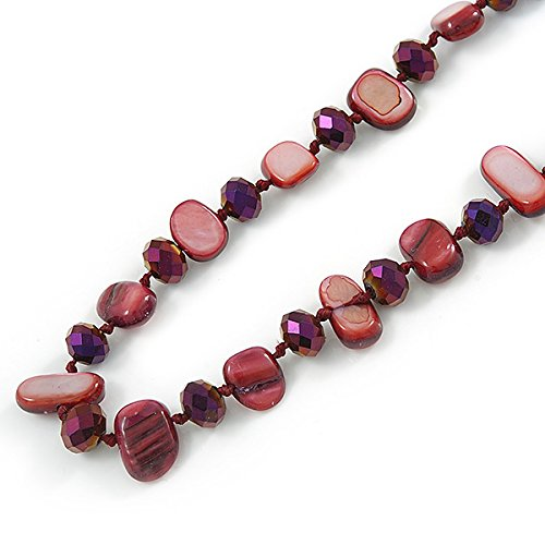 Avalaya Long Cranberry Shell Nugget and Chameleon Purple Glass Crystal Bead Necklace - 112cm L Yq3dVqIo