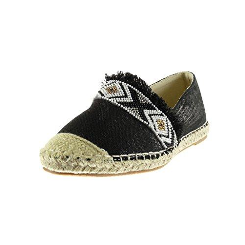 Angkorly - Chaussure Mode Espadrille Mocassin slip-on femme perle brodé corde Talon plat 1.5 CM - Noir