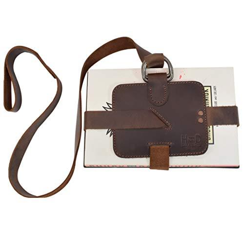Hide & Drink, Rustic Leather Adjustable Book Strap Carrier/Reader Essentials Gift, Handmade :: Bourbon Brown